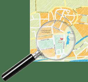 Eine Skizze des Anfahrtsweges mit einer Lupe